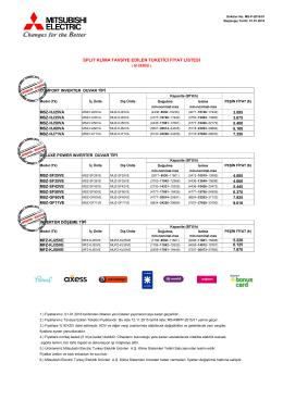splıt klima tavsiye edilen tüketici fiyat listesi
