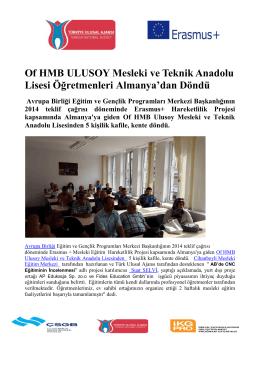 Of HMB ULUSOY Mesleki ve Teknik Anadolu Lisesi Öğretmenleri
