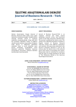 Editorial Board - Journal of Business Research – Turk