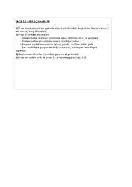 PROJE İLE İLGİLİ AÇIKLAMALAR 1) Proje hesaplamaları her