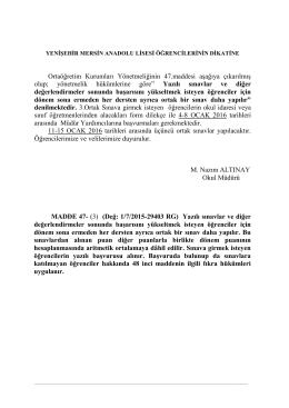 3.ortak sınav duyuru - Yenişehir Mersin Anadolu Lisesi