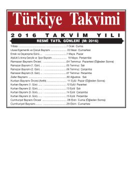 2016-Resmi Tatil.:2011-Tatil ve Mu . Gu n.