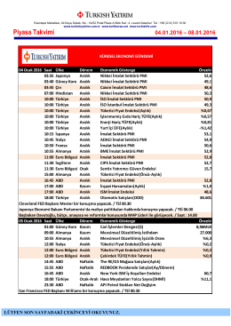 Piyasa Takvimi 04-08 Ocak 2016