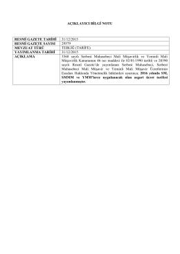 açıklayıcı bilgi notu resmi gazete tarihi 31/12/2015 resmi gazete