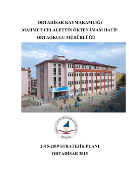 Okulumuz Stratejik Planı İlçe Milli Eğitim Müdürlüğümüze