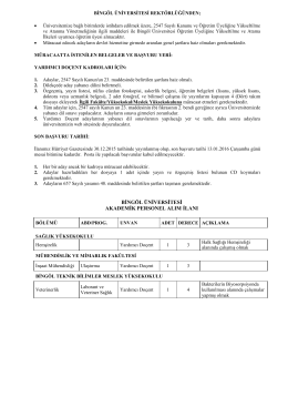 KADRO AKTARMA LİSTESİ - Bingöl Üniversitesi