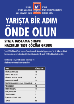 YARIŞTA BİR ADIM - İstanbul SMMM Odası