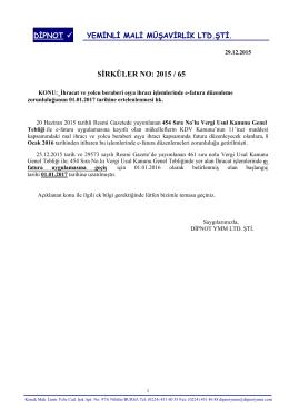sırk 2015-65 ihracatta e-fatura düzenleme süre