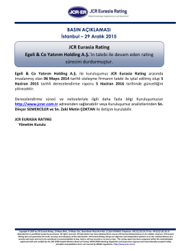 JCR Eurasia Rating, Egeli & Co Yatırım Holding A.Ş.