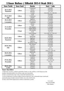 2.Sınav Haftası ( 28Aralık 2015-8 Ocak 2016 )