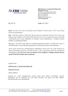 2015/76 - e-Tebligat sistemine başvuru süreleri 01/04