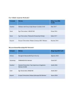 Faz 1 Klinik Araştırma Merkezleri Biyoyararlanım/Biyoeşdeğerlik