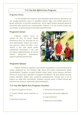 7-11 Yaş Aile Eğitim Kurs Programı Temalar