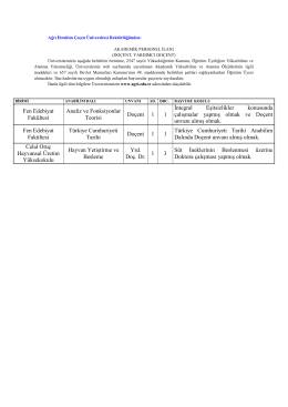 Fen Edebiyat Fakültesi Analiz ve Fonksiyonlar Teorisi Doçent 1 1