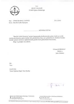 kilis valılıgı - Kilis Milli Eğitim Müdürlüğü