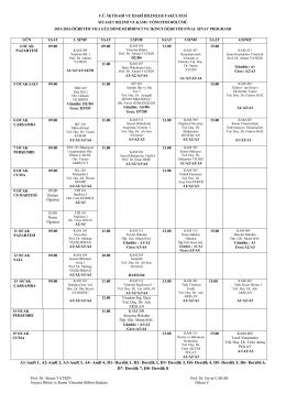 2015-2016 öğretim yılı güz dönemi final programı