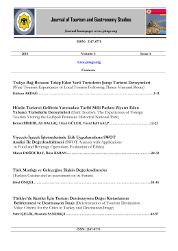 Contents - Journal of Tourism & Gastronomy Studies
