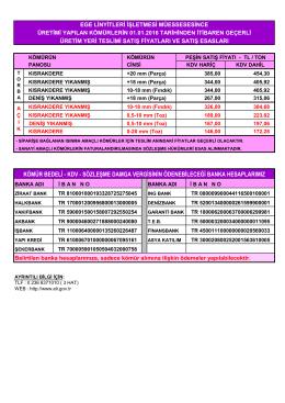 Güncel Fiyat Listesi ve Banka Hesap Numaralarımız