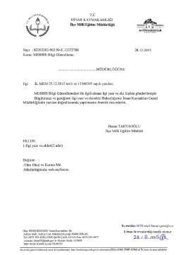 MEBBİS Bilgi Güncelleme konulu 28.112.2015 tarih ve 13372788