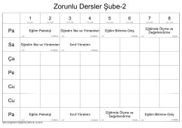 Zorunlu Dersler Şube-2