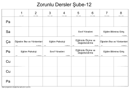 Zorunlu Dersler Şube-12