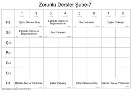 Zorunlu Dersler Şube-7