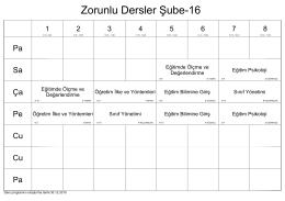 Zorunlu Dersler Şube-16