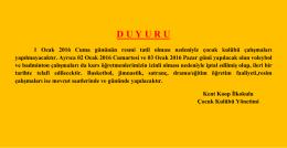 D U Y U R U - ANKARA / YENİMAHALLE