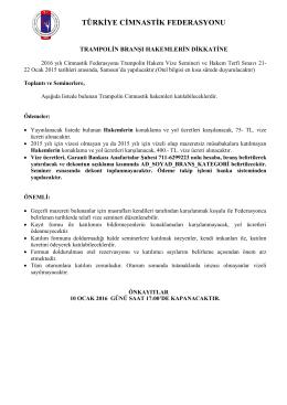 seminer bülteni - Türkiye Cimnastik Federasyonu