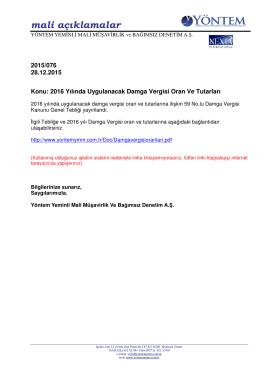 2015-076 2016 Yılında Uygulanacak Damga Vergisi Oran Ve Tutarları