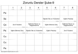 Zorunlu Dersler Şube-9