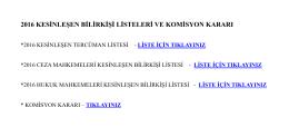 2016 kesinleşen bilirkişi listeleri ve komisyon kararı