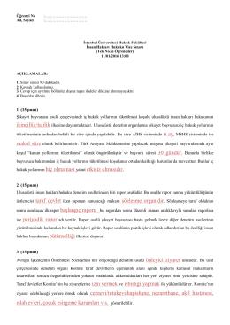 (Tek) Vize Sınavı Cevap Anahtarı - İstanbul Üniversitesi | Hukuk