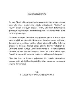 kamuoyuna duyuru - İstanbul Bilim Üniversitesi