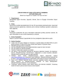 Katılım Koşulları - Anasayfa - 1.Ulusal 3D Yazıcı Atölyesi