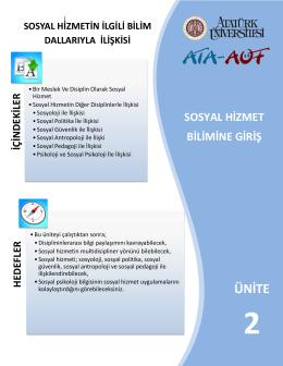 sosyal hizmet bilimine giriş ünite 2