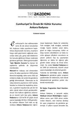Ankara Radyosu - trt akademi dergisi