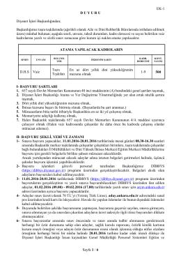 EK-1 Sayfa 1 / 6 D U Y U R U Diyanet İşleri Başkanlığından