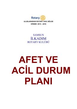Afet ve Acil Durum Planı - Samsun İlkadım Rotary Kulübü