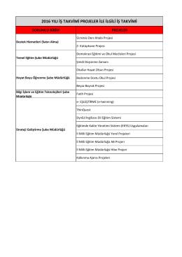 2016 yılı iş takvimi projeler ile ilgili iş takvimi