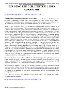 BIR GENC KZN GIZLI DEFTERI 1 IPEK ONGUN PDF