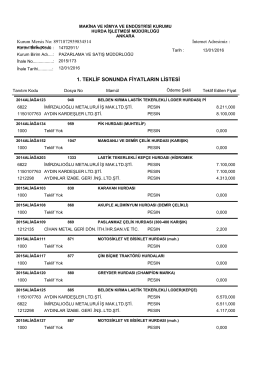 12.01.2016 ihale teklif listesi - Makina ve Kimya Endüstrisi Kurumu