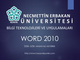 9. Hafta - Bilgi Teknolojileri ve Uygulamaları