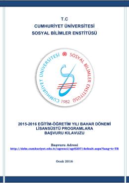 T.C CUMHURİYET ÜNİVERSİTESİ SOSYAL BİLİMLER ENSTİTÜSÜ