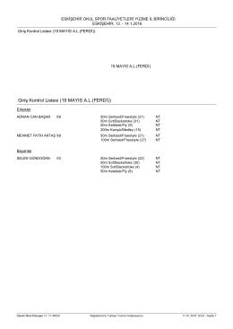 Giriş Kontrol Listesi (19 MAYIS A.L.(FERDİ))