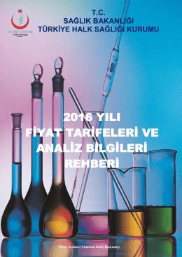 2016 Yılı Analiz Fiyat Tarifesi - Antalya Halk Sağlığı Müdürlüğü