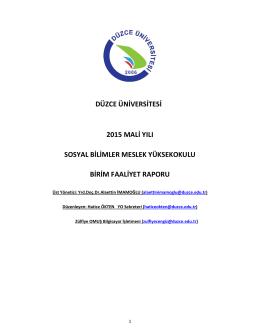 2015 Yılı Faaliyet Raporu - Düzce Üniversitesi Sosyal Bilimler