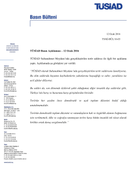 TÜSİAD Basın Açıklaması – 12 Ocak 2016 TÜSİAD Sultanahmet