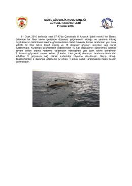 11 Ocak 2016 - Sahil Güvenlik Komutanlığı