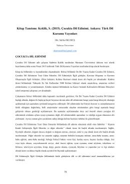 Kitap Tanıtımı: Keklik, S. (2015). Çocukta Dil Edinimi